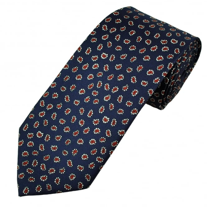 Navy Blue, Red & White Paisley Men's Tie