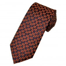 Navy Blue, Red & Yellow Paisley Patterned Men's Tie