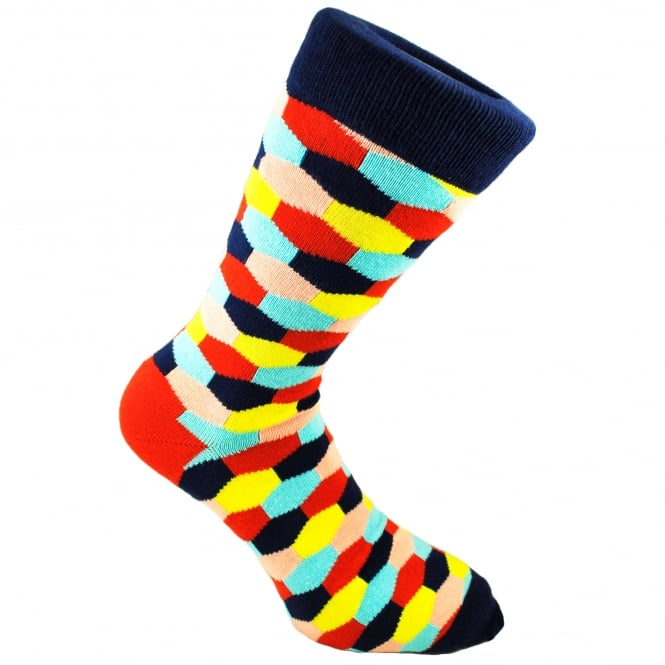Navy Blue, Red, Yellow, Peach & Sky Blue Hexagonal Patterned Men's Socks