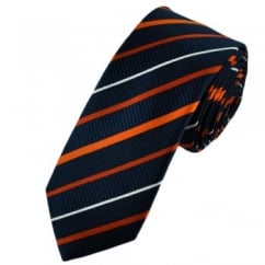 Navy Blue Ribbed with Burnt Orange, Orange & White Satin Striped Narrow Tie