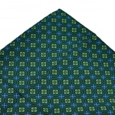 Navy Blue, Royal Blue, Green & Yellow Floral Patterned Pocket Square Handkerchief