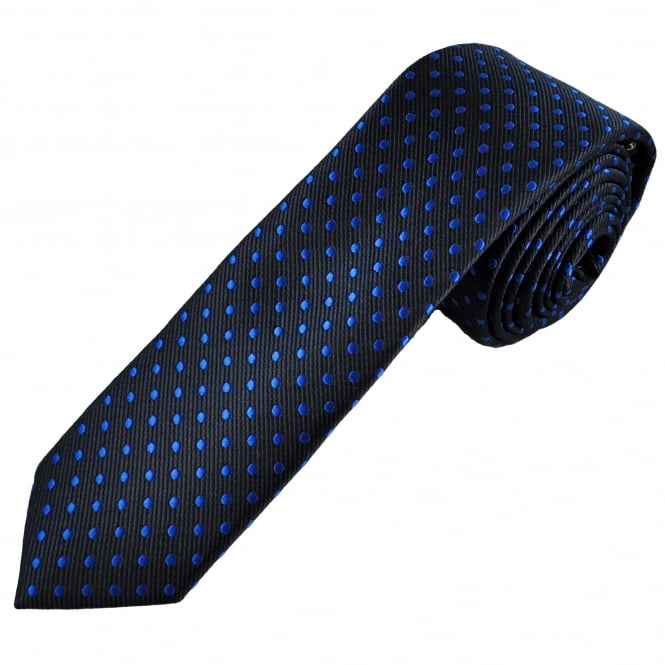 Navy Blue & Royal Blue Polka Dot Boys Skinny Tie