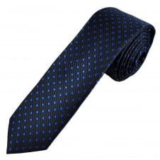 Navy Blue & Royal Blue Polka Dot Men's Skinny Tie