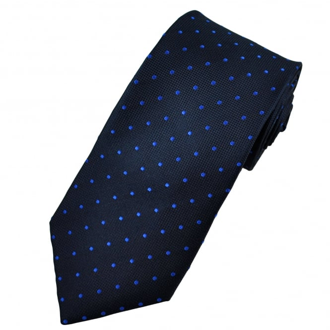 Navy Blue & Royal Blue Polka Dot Silk Tie