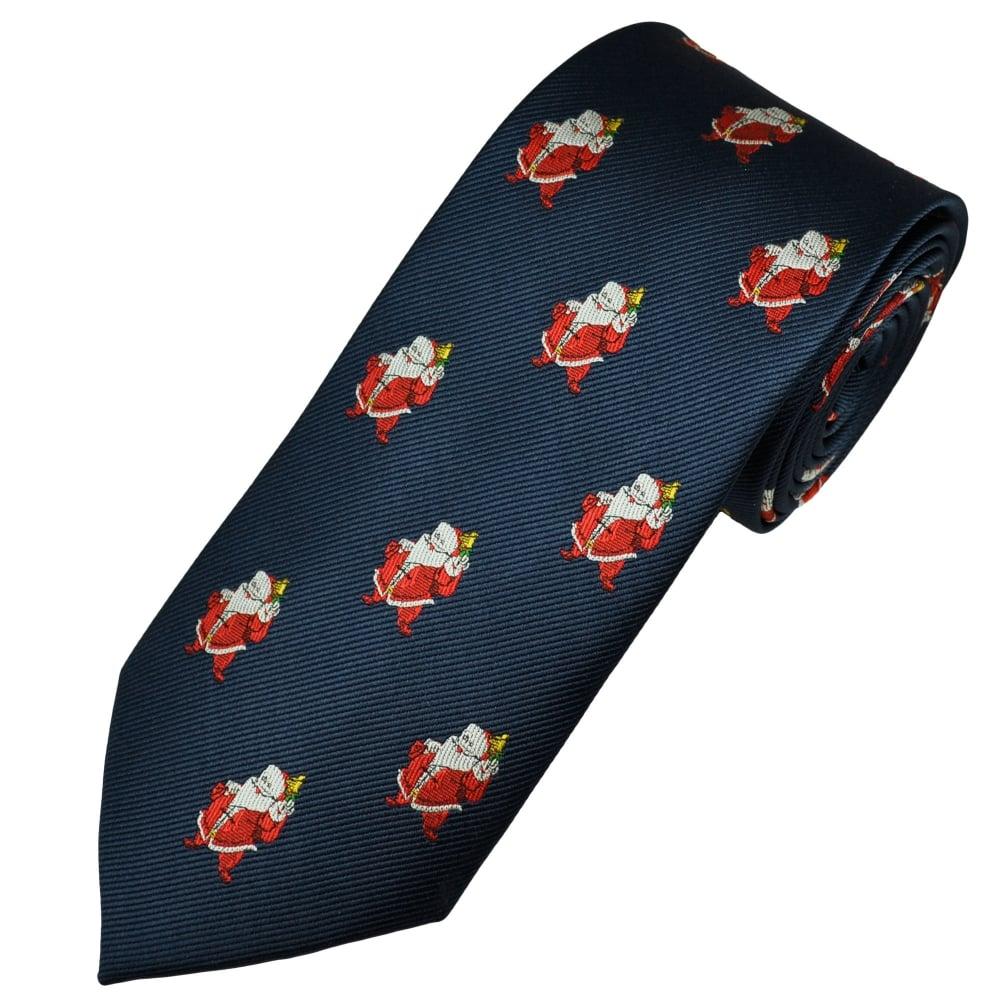 Christmas Tie.Navy Blue Santa Claus Men S Novelty Christmas Tie