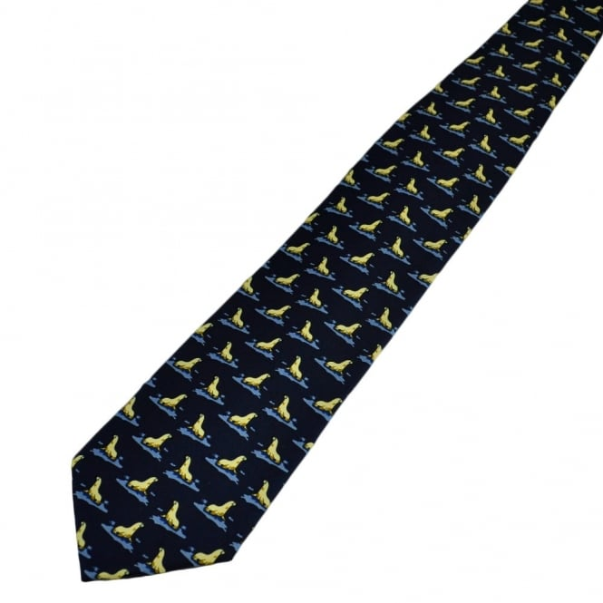 Navy Blue Seals Novelty Tie