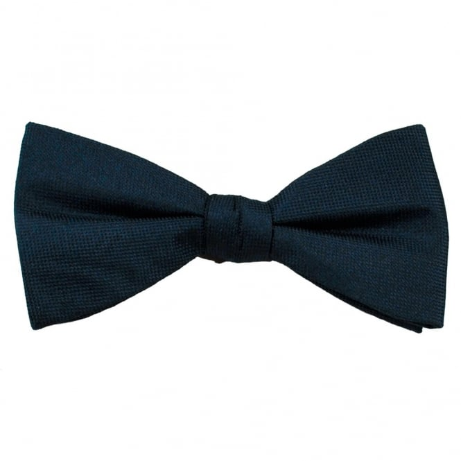 Navy Blue Self Patterned Men's Silk Bow Tie