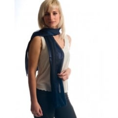Navy Blue Self-Stripe Satin Scarf