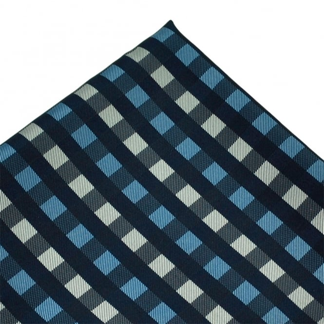 Navy, Blue & Silver Check Patterned Silk Pocket Square Handkerchief