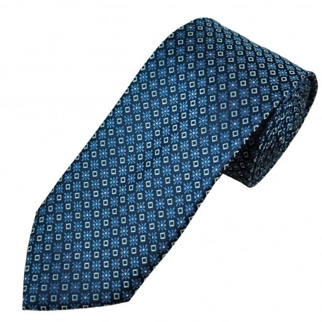 Navy, Blue & Silver Flower & Diamond Patterned Men's Tie
