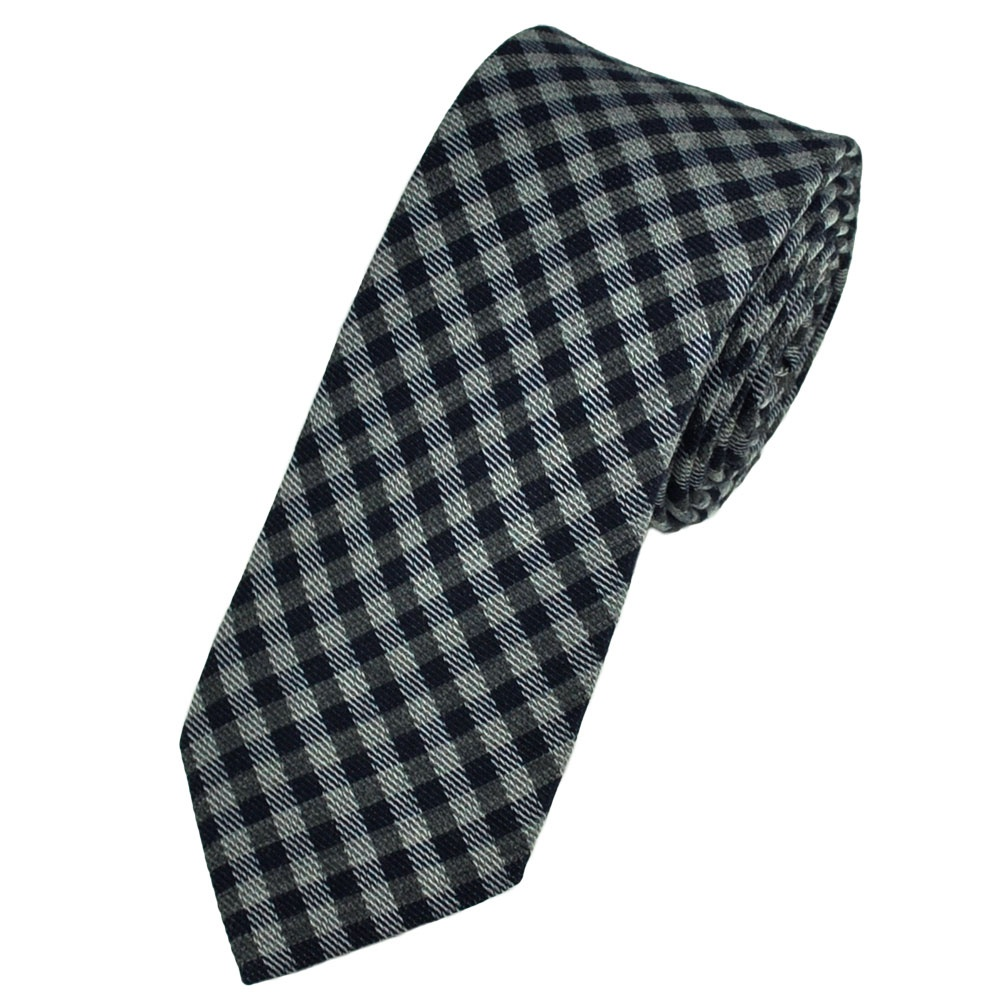 navy blue silver grey checked narrow wool blend tie from