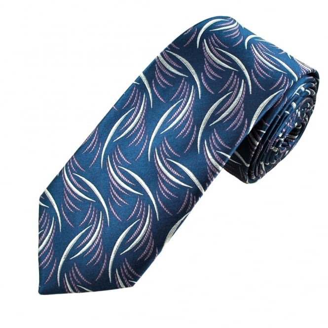 Navy Blue, Silver & Lilac Patterned Luxury Narrow Silk Tie