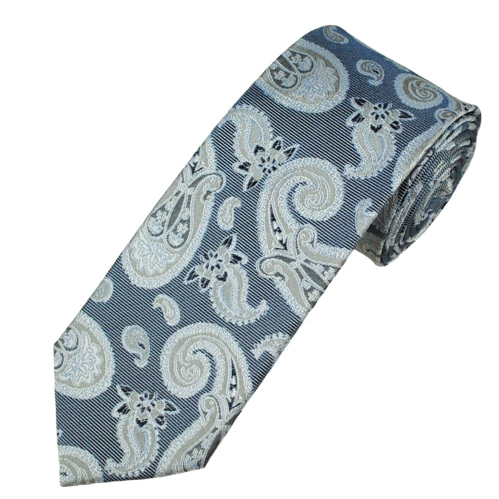 Navy Blue & Silver Paisley Patterned Luxury Men's Silk Tie ...