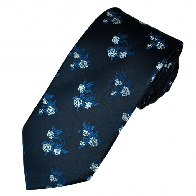 Navy, Blue & Silver Patterned Men's Tie