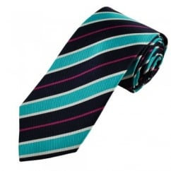 Navy, Blue, Silver & Pink Striped Men's Silk Tie