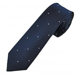 Navy Blue & Silver Polka Dot Men's Silk Skinny Tie