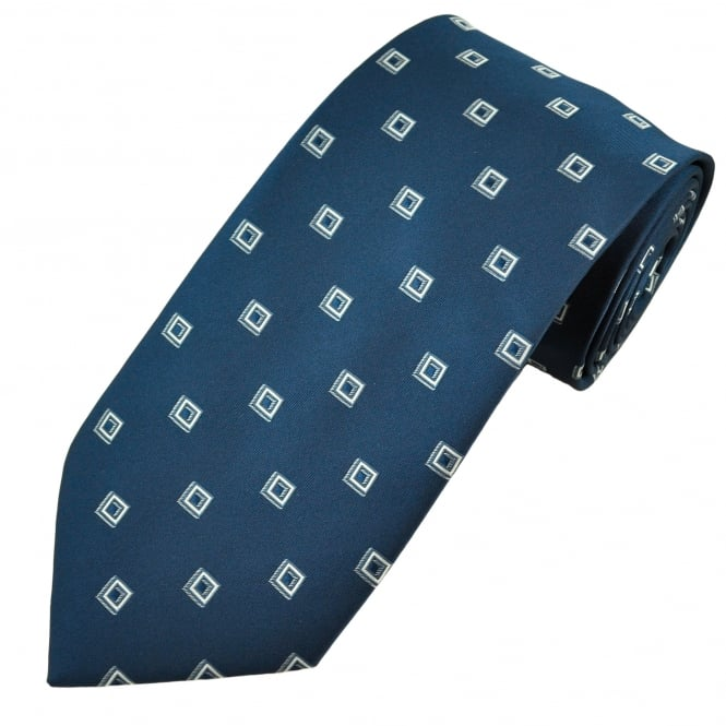 Navy Blue & Silver Square Patterned Men's Tie