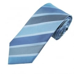 Navy, Blue & Silver Striped Men's Silk Tie