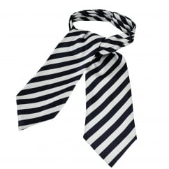 Navy Blue & Silver White Striped Casual Day Cravat