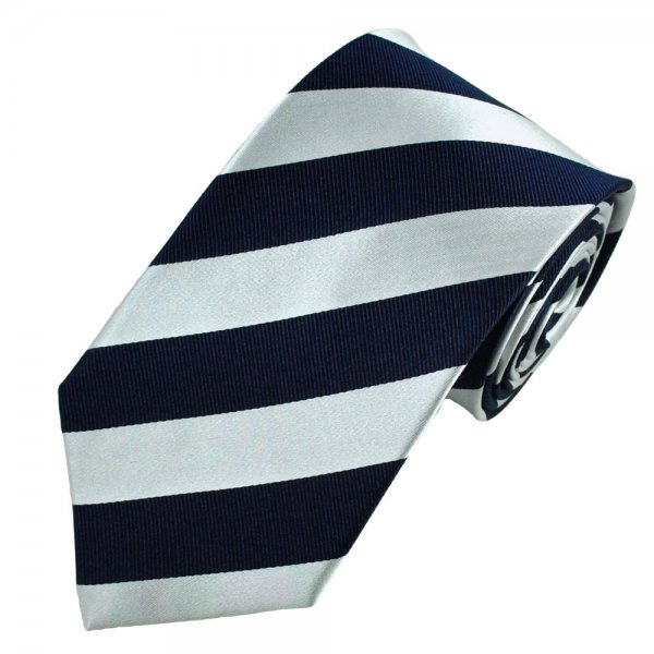 Navy Blue Amp Silver White Striped Silk Tie From Ties Planet Uk