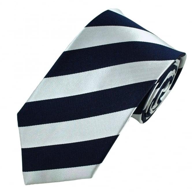 510fb5a1 Navy Blue & Silver-White Striped Silk Tie