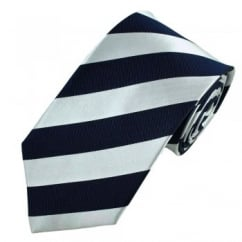 Navy Blue & Silver-White Striped Silk Tie