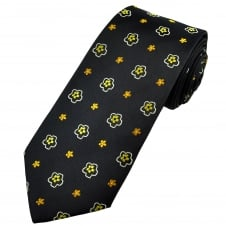 Navy Blue, Silver, Yellow & Gold Flower Patterned Men's Extra Long Tie