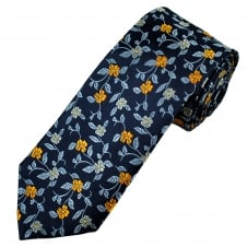 Navy Blue, Sky Blue, Orange & Silver Flower Patterned Luxury Men's Silk Tie