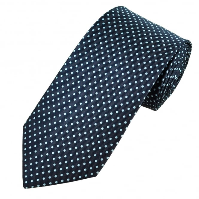 Navy Blue & Sky Blue Polka Dot Men's Tie