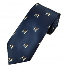 Navy Blue Spaniel Dog Men's Country Tie
