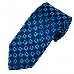 Navy & Blue Square Patterned Men's Silk Tie