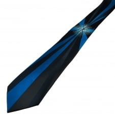 Navy & Blue Starburst Patterned Narrow Men's Tie