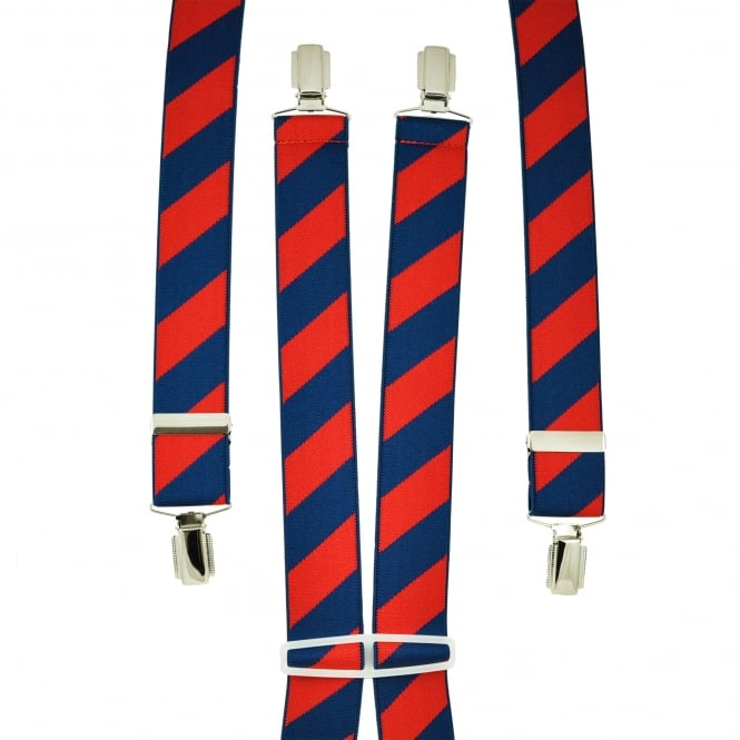 Navy Blue & Strawberry Red striped Men's Trouser Braces