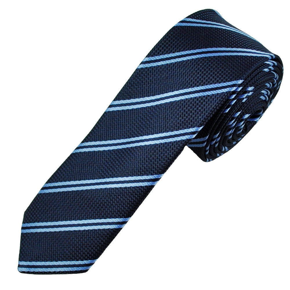 Our most popular striped ties are now available in a trendy 2-inch width. This trendy navy blue and white skinny striped tie is made from a heavyweight woven material with a smooth satin finish.