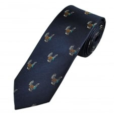 Navy Blue Turkey Bird Luxury Silk Narrow Men's Tie