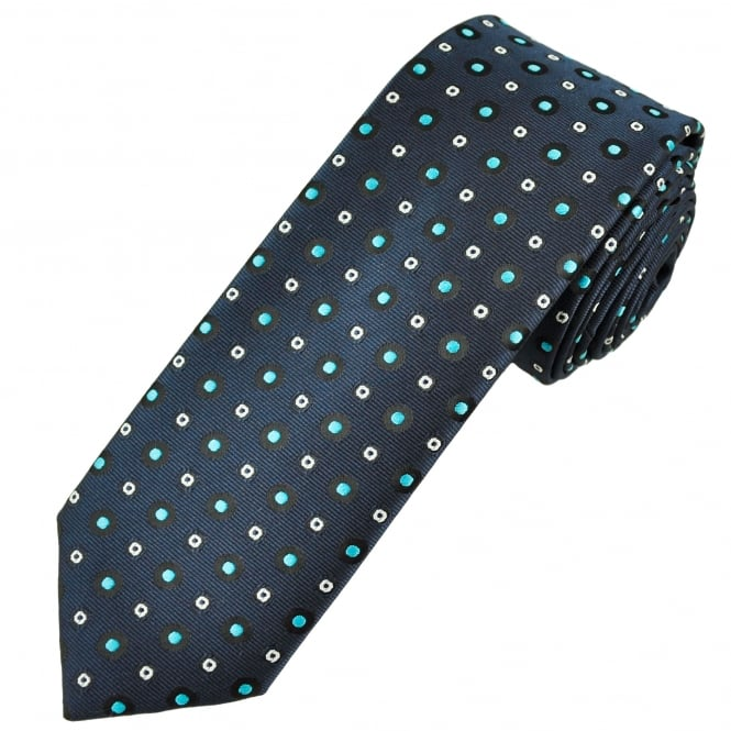 Navy Blue, Turquoise, Black & White Spot Pattern Men's Skinny Tie