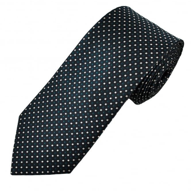 Navy Blue, Turquoise & Ivory Patterned Men's Tie