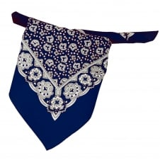 Navy Blue, White & Black Paisley Patterned Bandana Neckerchief
