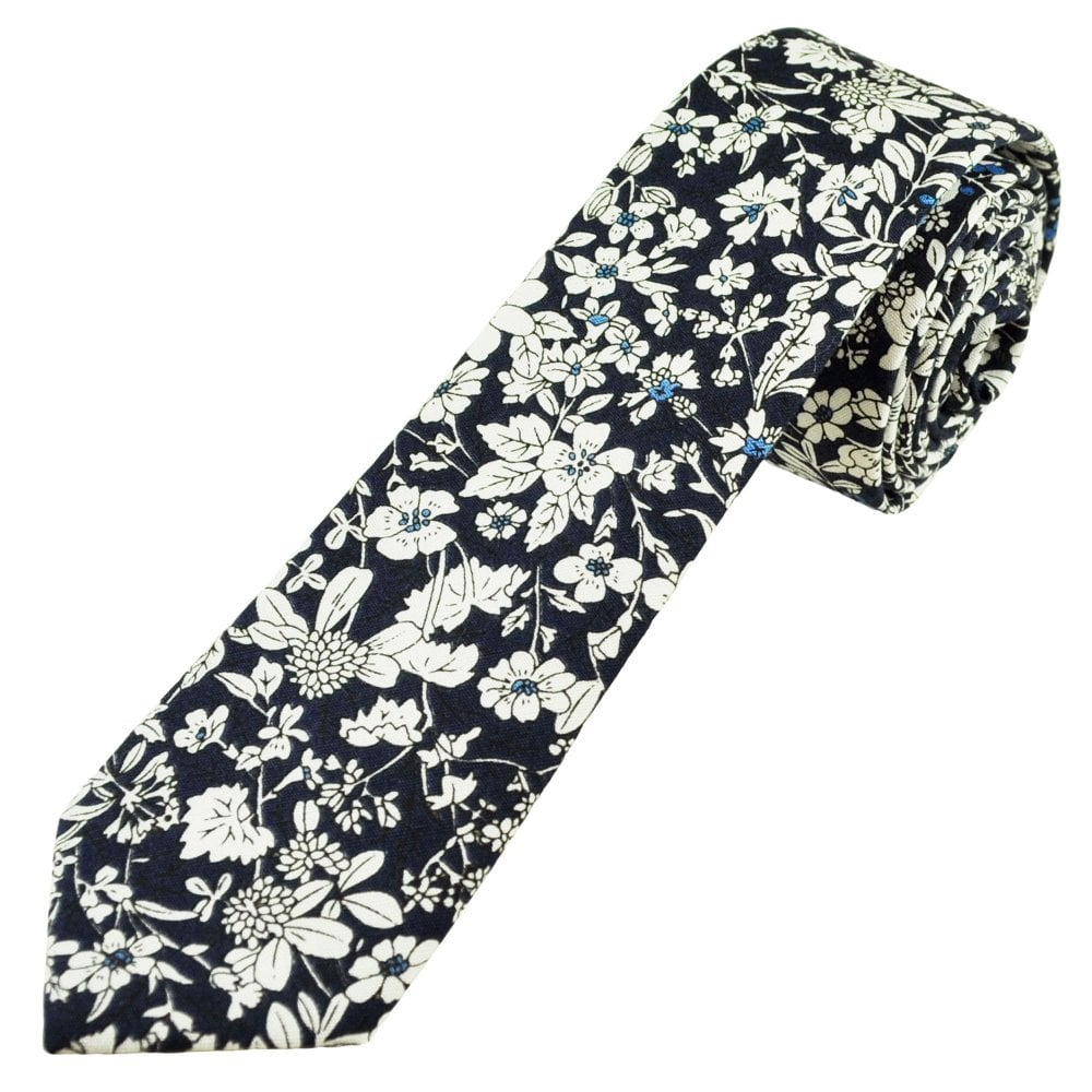 Navy Blue White And Gray Bedroom: Navy Blue & White Floral Pattern Cotton Boys Skinny Tie