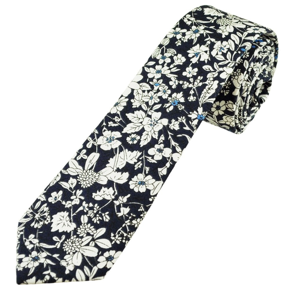 7888d72474c8 Navy Blue & White Floral Pattern Men's Cotton Skinny Tie from Ties Planet UK