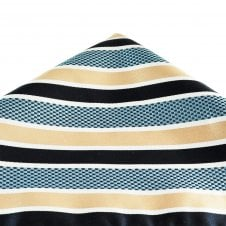 f0356a09e4eb Navy Blue, White, Gold & Sky Blue Striped Pocket Square Handkerchief
