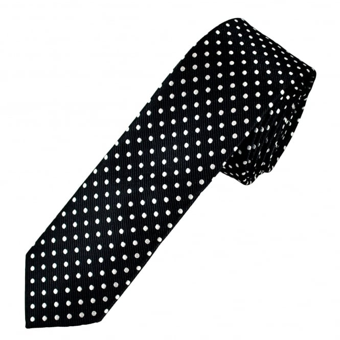 Navy Blue & White Polka Dot Boys Skinny Tie
