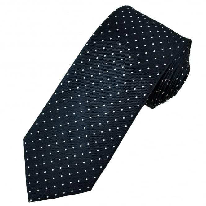 Navy Blue & White Polka Dot Men's Luxury Silk Tie