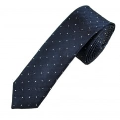 Navy Blue & White Polka Dot Men's Silk Skinny Tie
