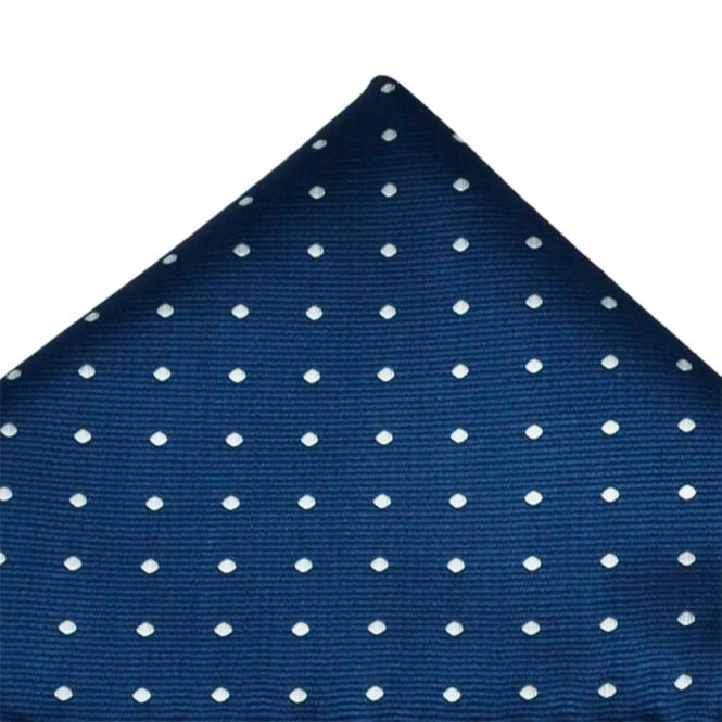 Navy Blue & White Polka Dot Pocket Square Handkerchief