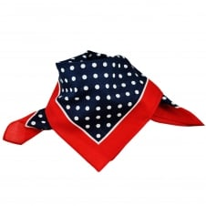 Navy Blue & White Polka Dot with Red Trim Bandana Neckerchief