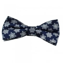 Navy Blue & White Snowflake Novelty Christmas Bow Tie