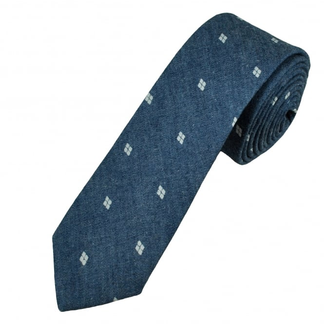 Navy Blue & White Square Patterned Cotton Men's Skinny Tie