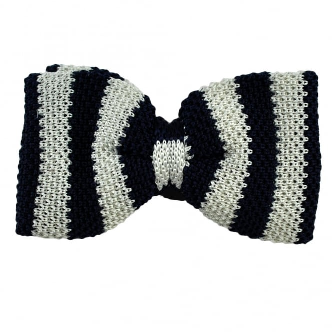 Navy Blue & White Striped Knitted Silk Bow Tie