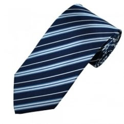Navy, Blue & White Striped Men's Silk Tie